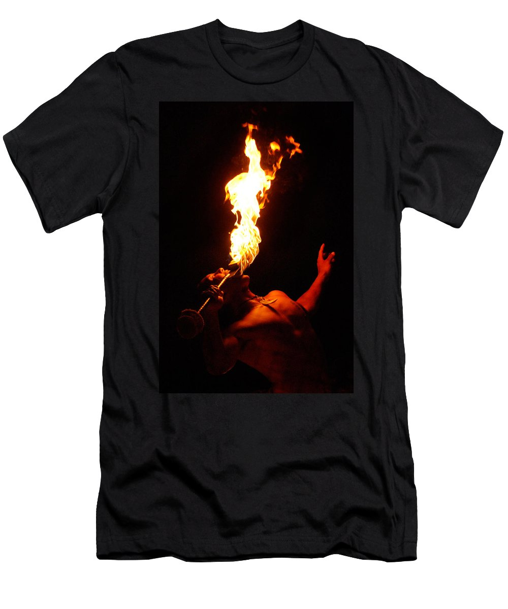 Hawaii Men's T-Shirt (Athletic Fit) featuring the photograph Hawaiian Luau Fire Eater by Jill Reger