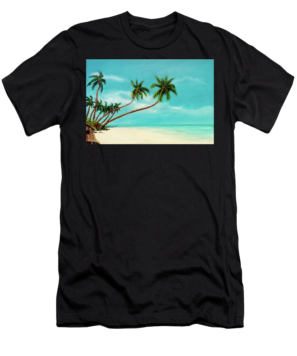 Hawaiian Beaches Men's T-Shirt (Athletic Fit) featuring the painting Hawaiian Prime Real Estate #284 by Donald k Hall
