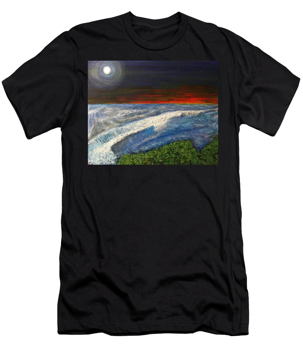 Beaches Men's T-Shirt (Athletic Fit) featuring the painting Hawiian View by Michael Cuozzo