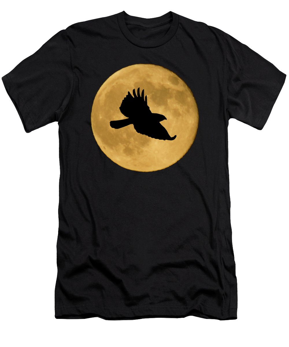 Hawk Men's T-Shirt (Athletic Fit) featuring the mixed media Hawk Flying By Full Moon by Shane Bechler