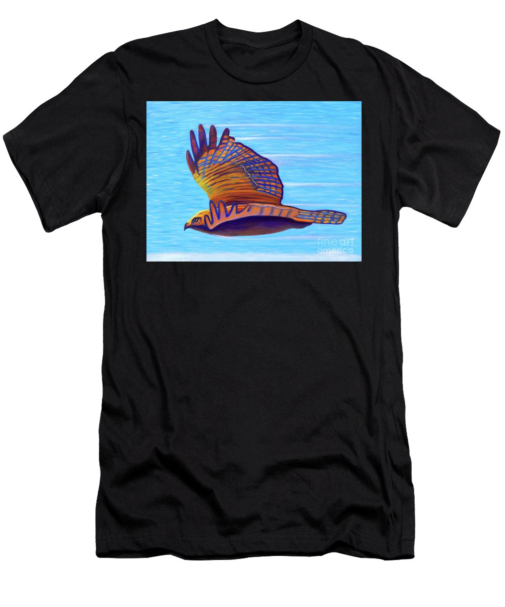 Hawk Men's T-Shirt (Athletic Fit) featuring the painting Hawk Speed by Brian Commerford