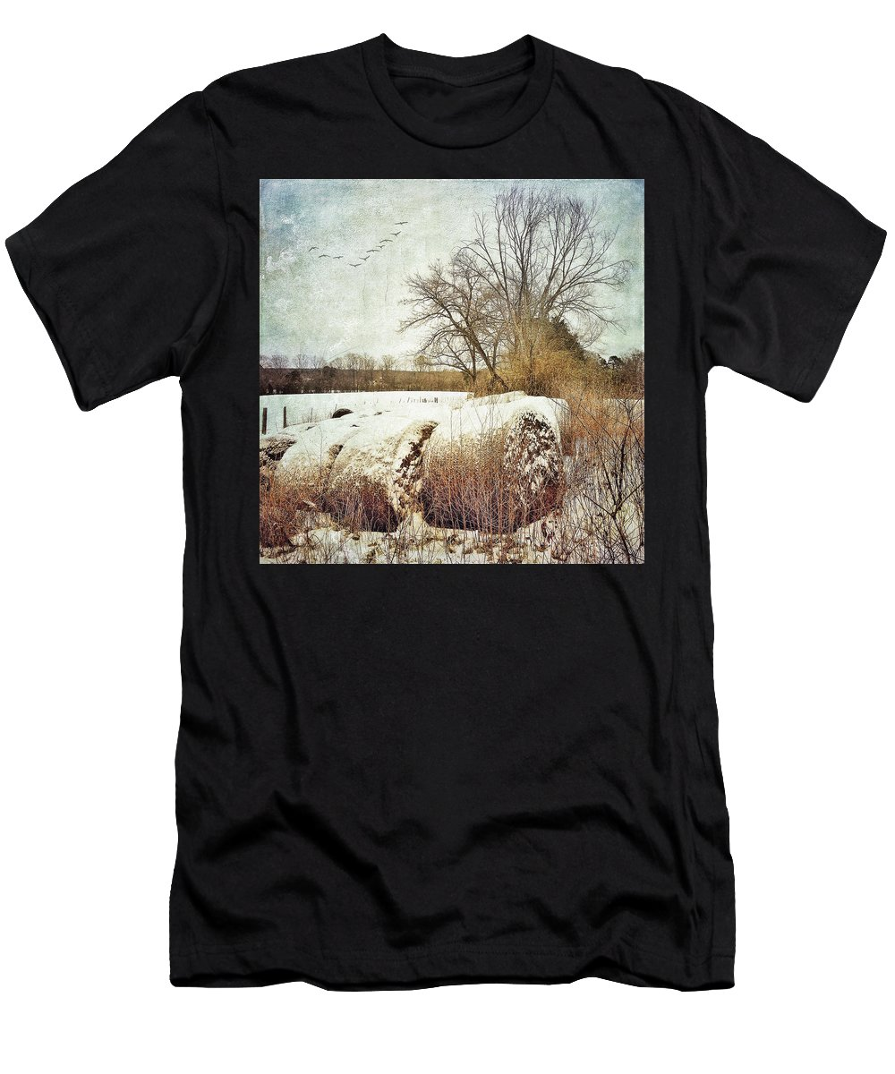 Photography Men's T-Shirt (Athletic Fit) featuring the photograph Hay Bales In Snow by Melissa D Johnston