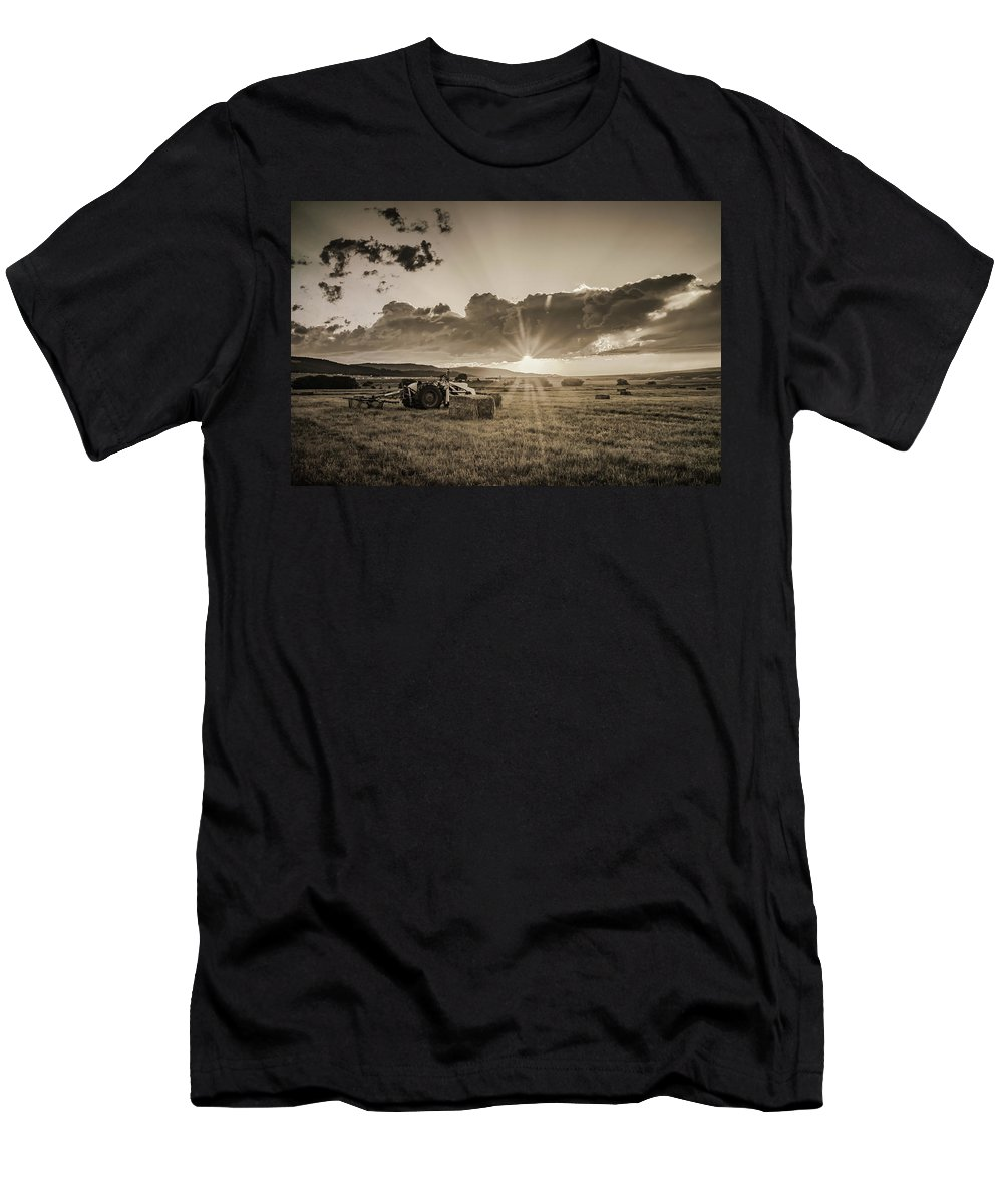 Tractor Men's T-Shirt (Athletic Fit) featuring the photograph Haying Time by Don Schwartz