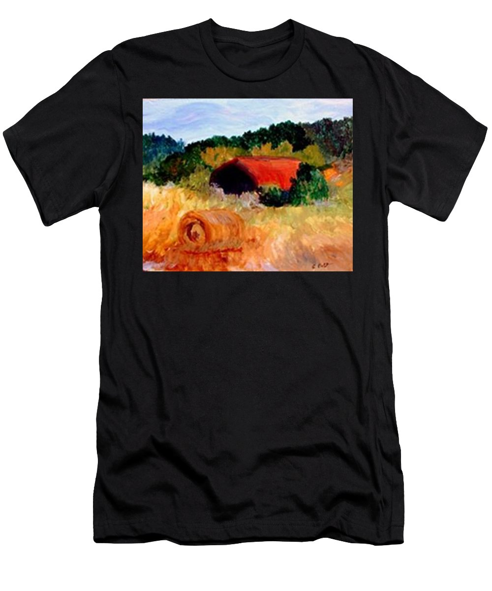 Hayrolls Men's T-Shirt (Athletic Fit) featuring the painting Hayrolls by Gail Kirtz