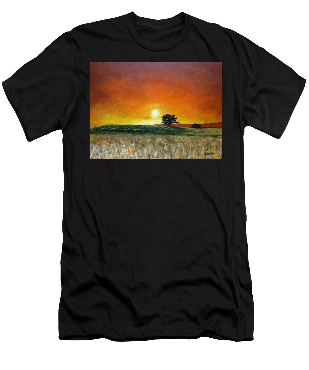 Landscapes Men's T-Shirt (Athletic Fit) featuring the painting Hazy Sunset by Dan Wheeler