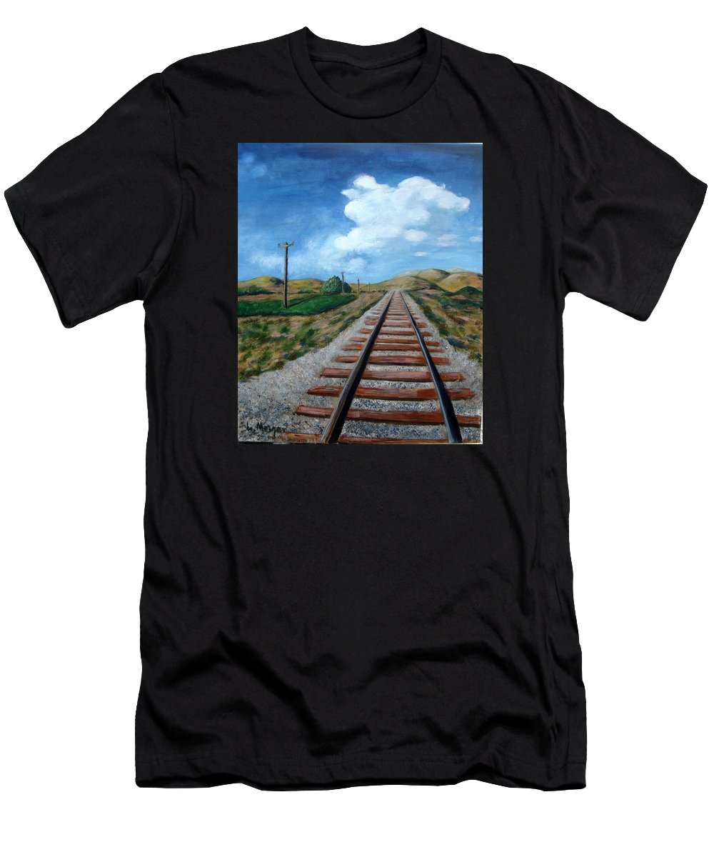 Railroad Tracks Men's T-Shirt (Athletic Fit) featuring the painting Heading West by Laurie Morgan
