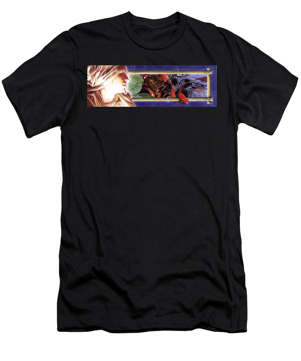 Portrait Men's T-Shirt (Athletic Fit) featuring the painting Heads And Tails by Denny Bond