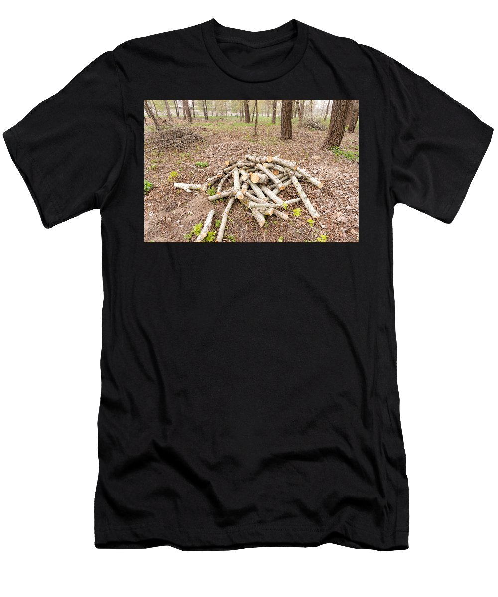 Bark Men's T-Shirt (Athletic Fit) featuring the photograph Heap Of Cut Wood by Alain De Maximy