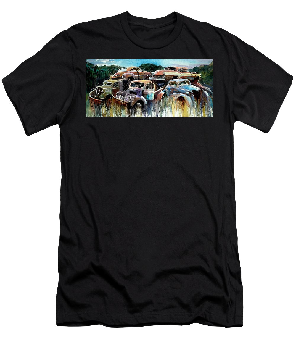 Trucks Cars Rust T-Shirt featuring the painting Heaped Heaps by Ron Morrison