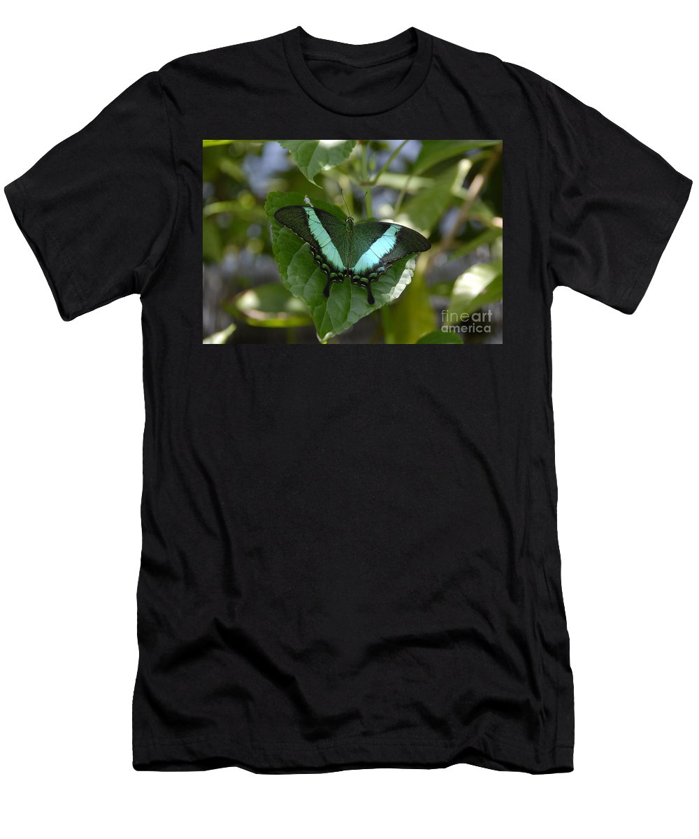 Butterfly Men's T-Shirt (Athletic Fit) featuring the photograph Heart Leaf Butterfly by David Lee Thompson