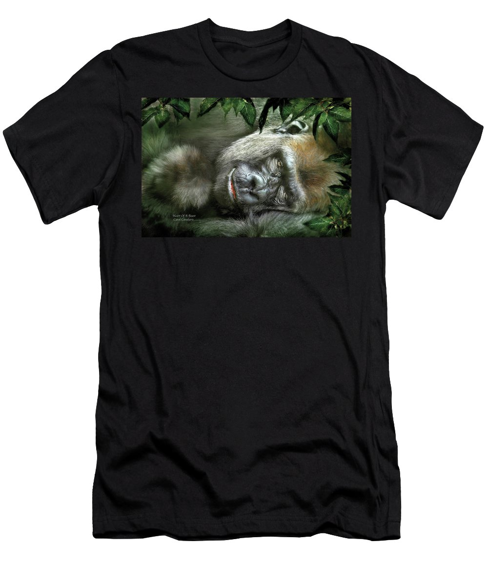 Gorilla Men's T-Shirt (Athletic Fit) featuring the mixed media Heart Of A Beast by Carol Cavalaris