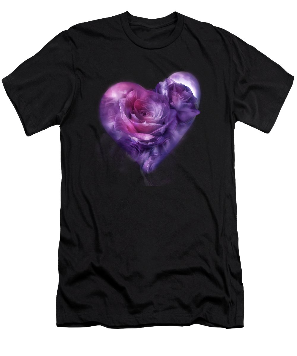 Rose Men's T-Shirt (Athletic Fit) featuring the mixed media Heart Of A Rose - Burgundy Purple by Carol Cavalaris