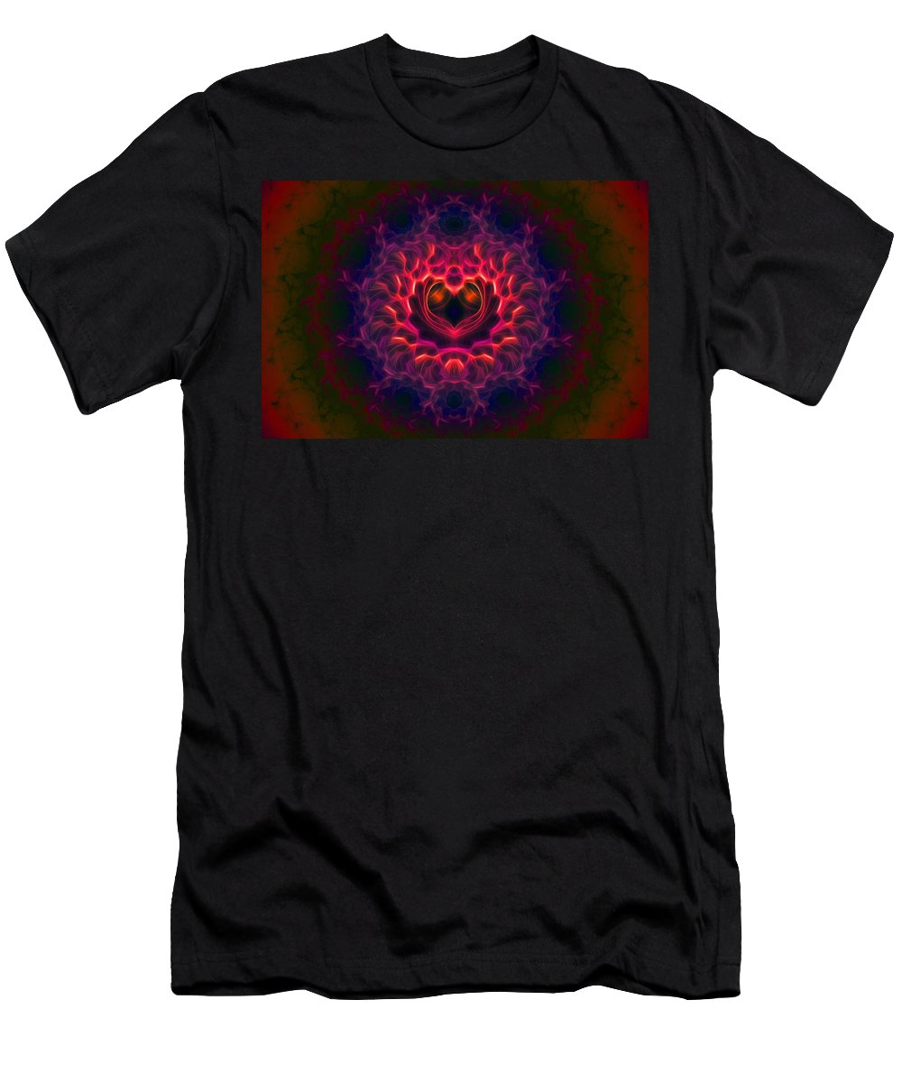 Fractal Men's T-Shirt (Athletic Fit) featuring the digital art Heart Of Darkness by Lyle Hatch