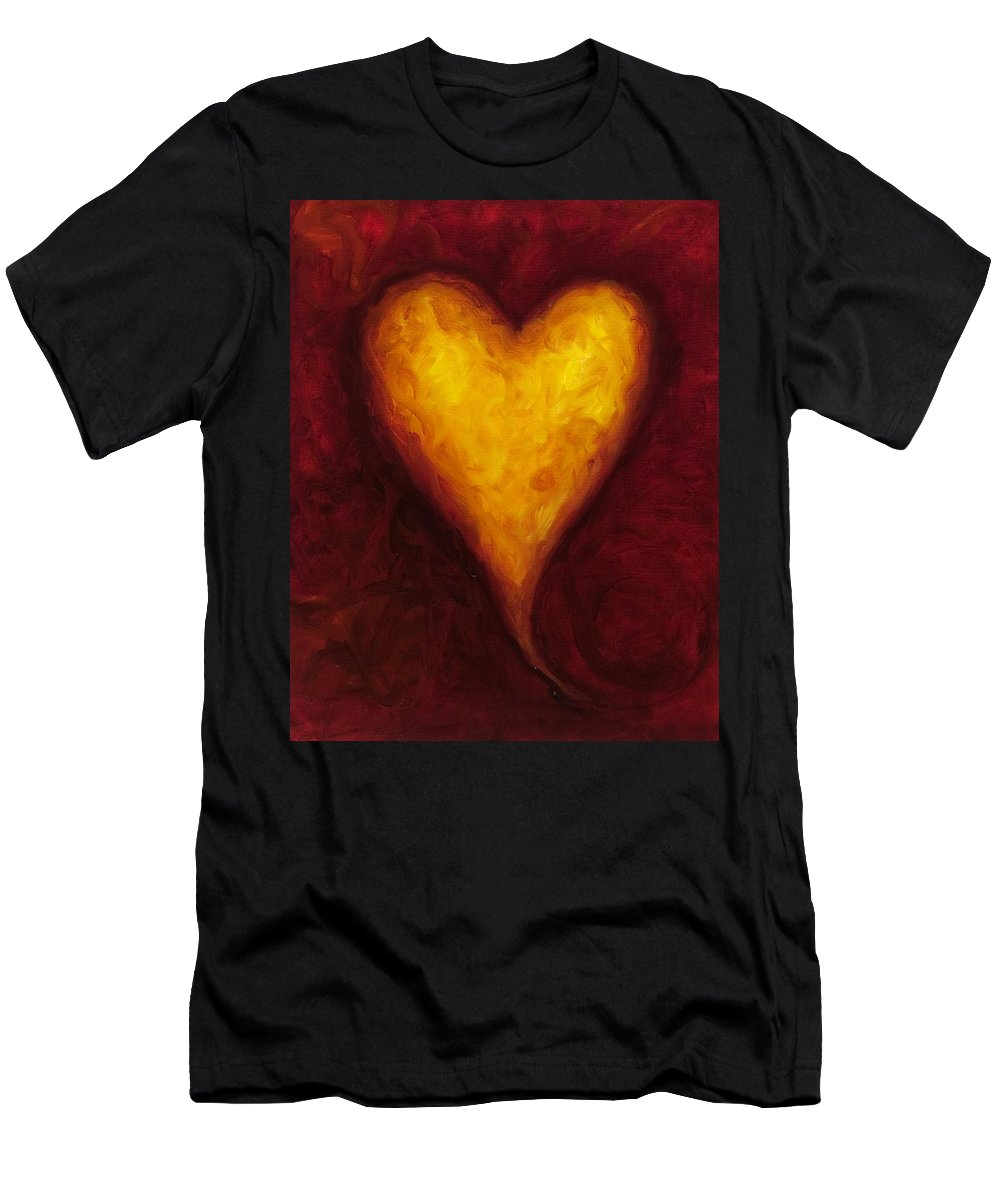 Heart Men's T-Shirt (Athletic Fit) featuring the painting Heart Of Gold 1 by Shannon Grissom