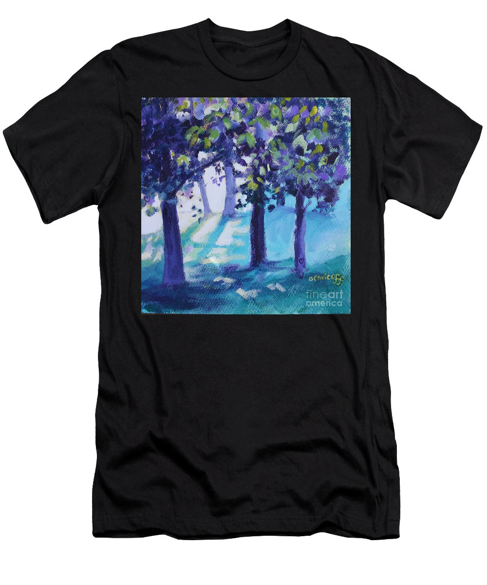 Expressionist Men's T-Shirt (Athletic Fit) featuring the painting Heart Of The Forest by Jan Bennicoff