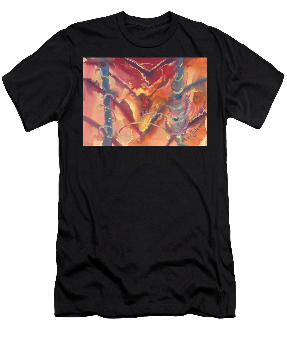 Heart Unveiled Men's T-Shirt (Athletic Fit) featuring the painting Heart Unveiled by Sheri Jo Posselt