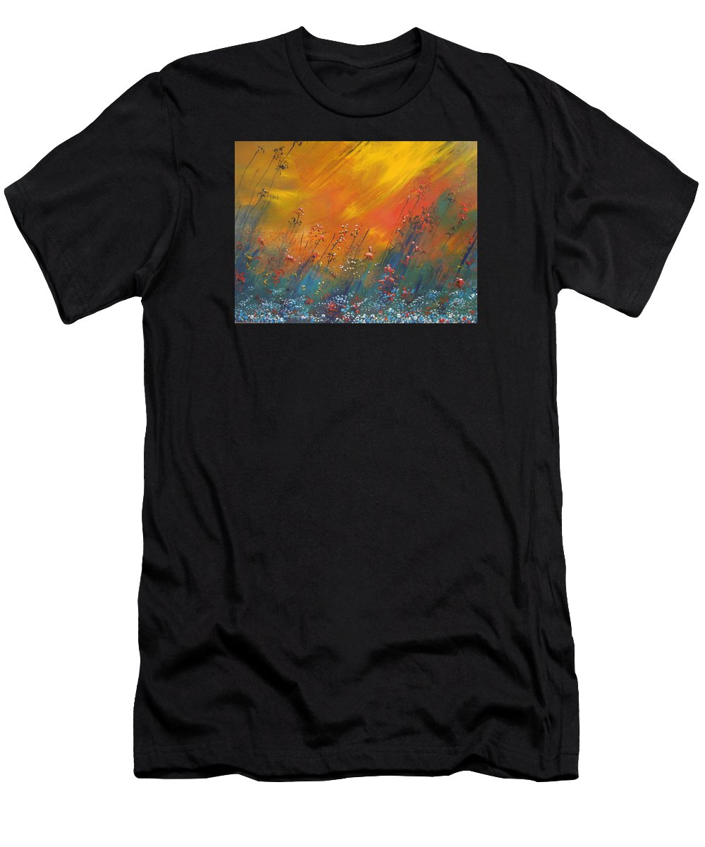 Landscape Abstract Men's T-Shirt (Athletic Fit) featuring the painting Heartland by Dan Whittemore