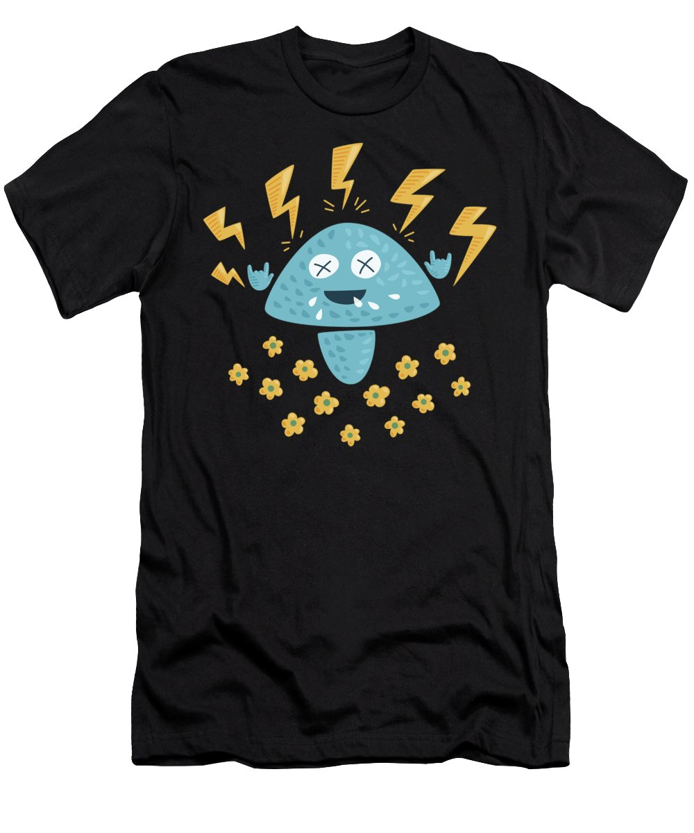 Heavy Metal Men's T-Shirt (Athletic Fit) featuring the digital art Heavy Metal Mushroom by Boriana Giormova