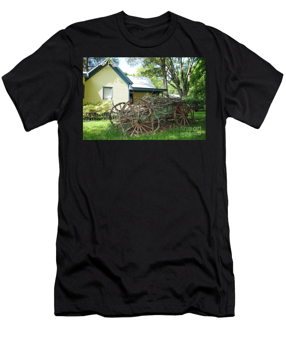 Wagon Men's T-Shirt (Athletic Fit) featuring the photograph Heavy Wagon Load by Jost Houk
