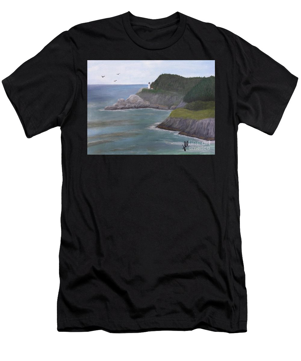 Oregon Men's T-Shirt (Athletic Fit) featuring the painting Heceta Head Lighthouse by Jessie Lofland