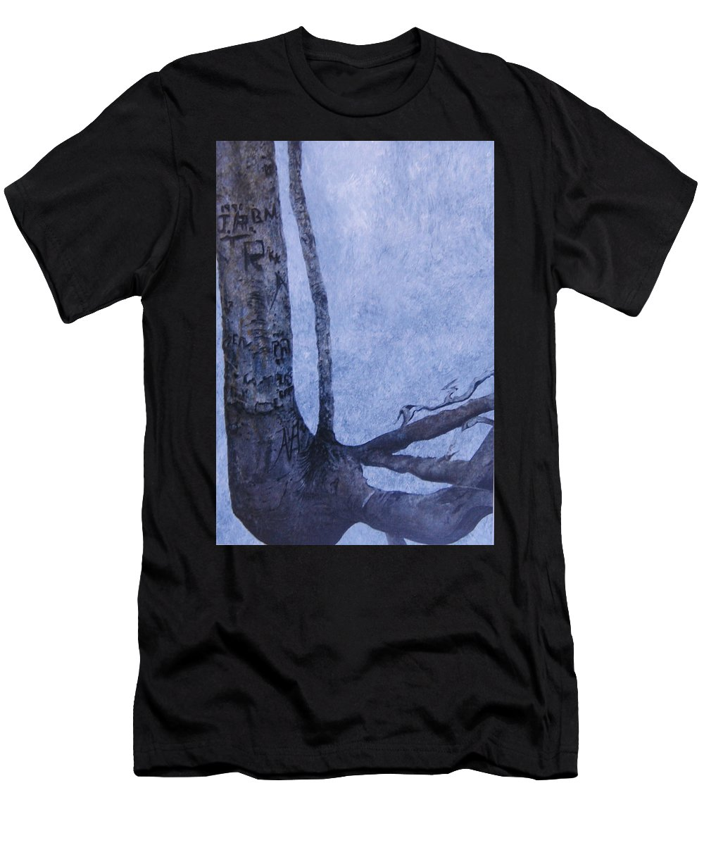 Tree Trunk Men's T-Shirt (Athletic Fit) featuring the painting Hedden Park II by Leah Tomaino