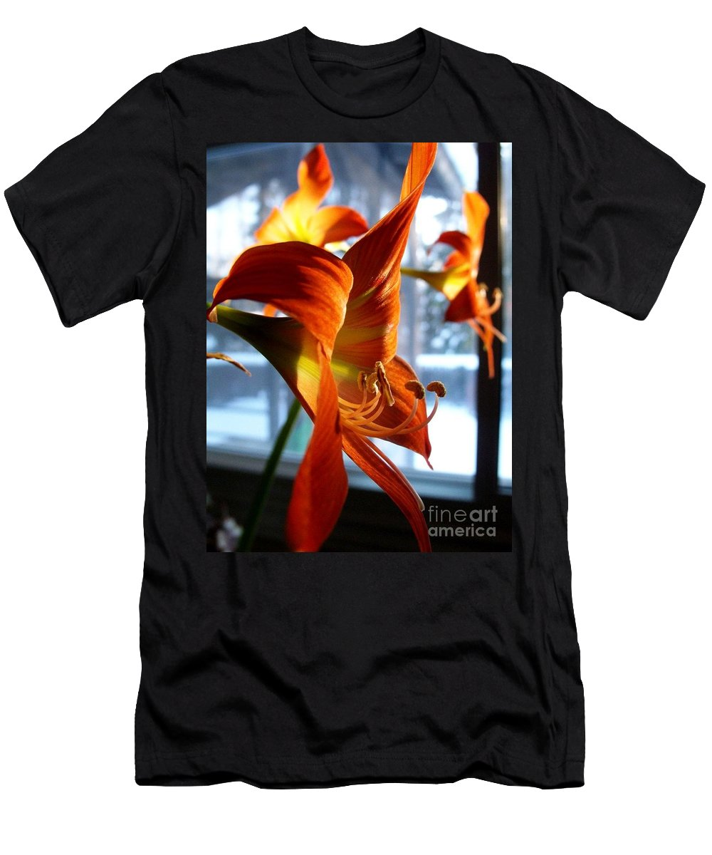 Amaryllis Men's T-Shirt (Athletic Fit) featuring the photograph Heirloom Amaryllis by Karen Sloan