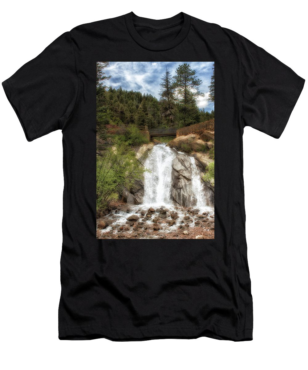 Waterfall Men's T-Shirt (Athletic Fit) featuring the photograph Helen Hunt Falls by Katy Robinson