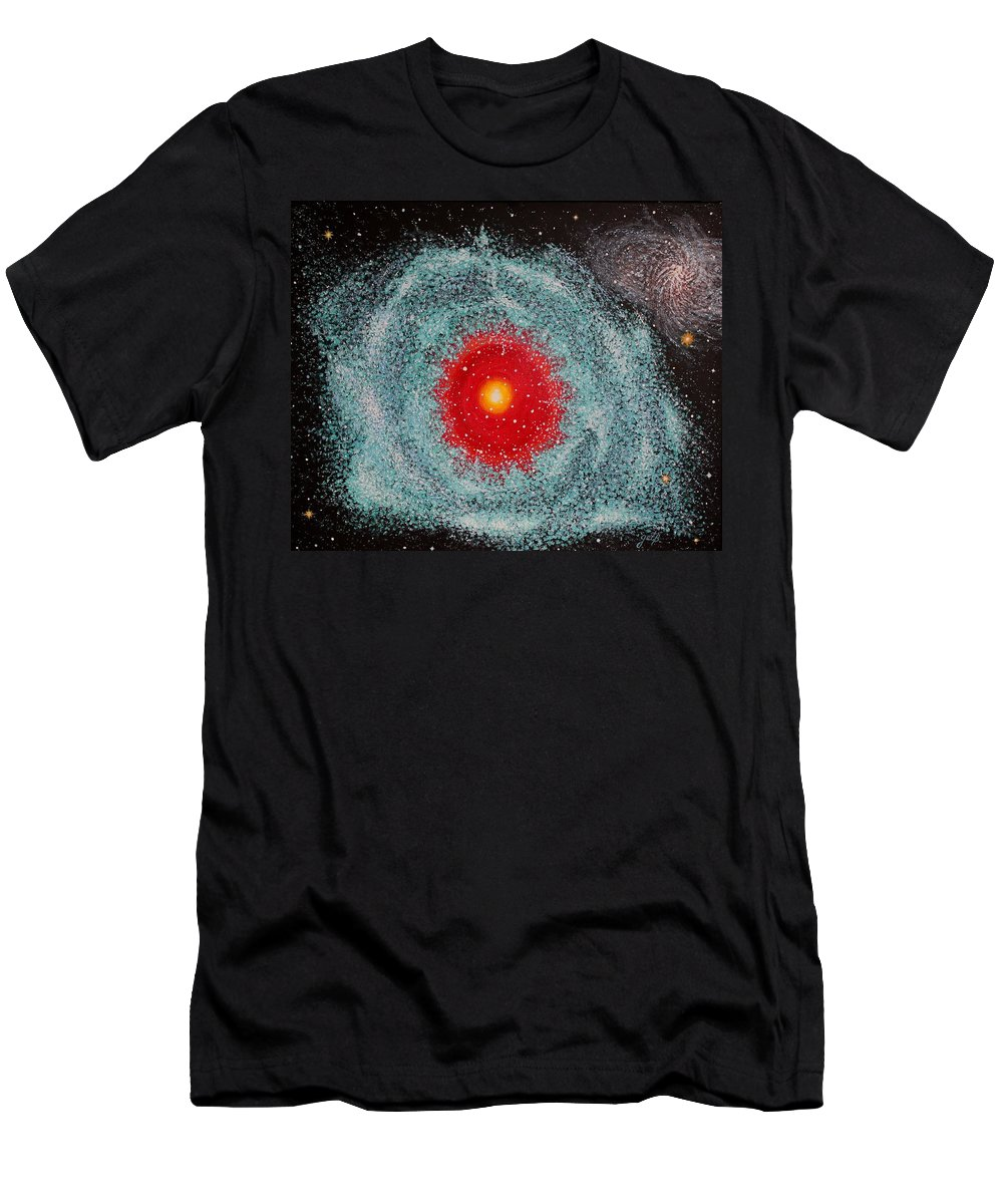 Outer Space Nebula Men's T-Shirt (Athletic Fit) featuring the painting Helix Nebula by Georgeta Blanaru