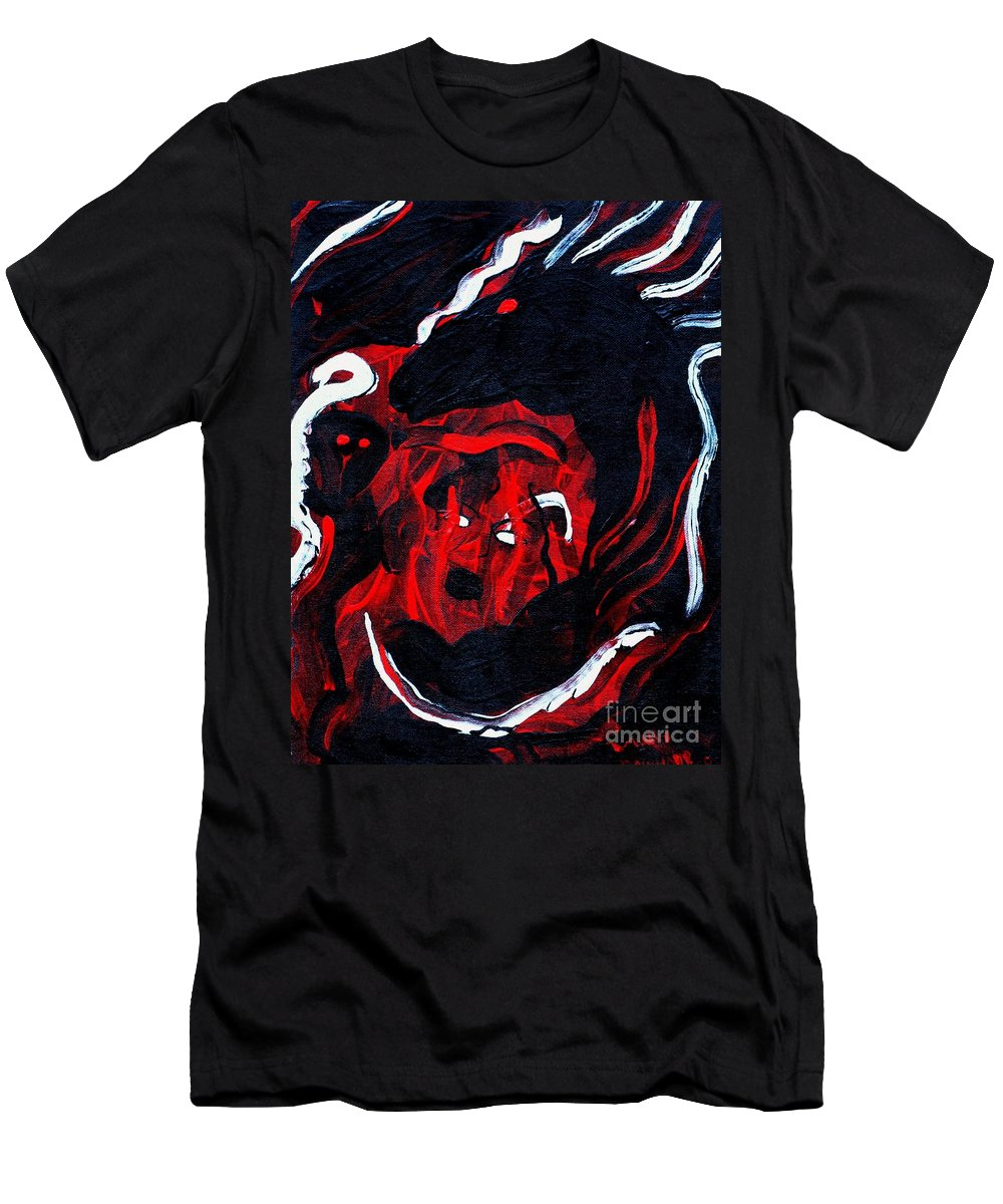 Horse Woman Red Black Silver Men's T-Shirt (Athletic Fit) featuring the painting Hell Beast by Dawn Downour