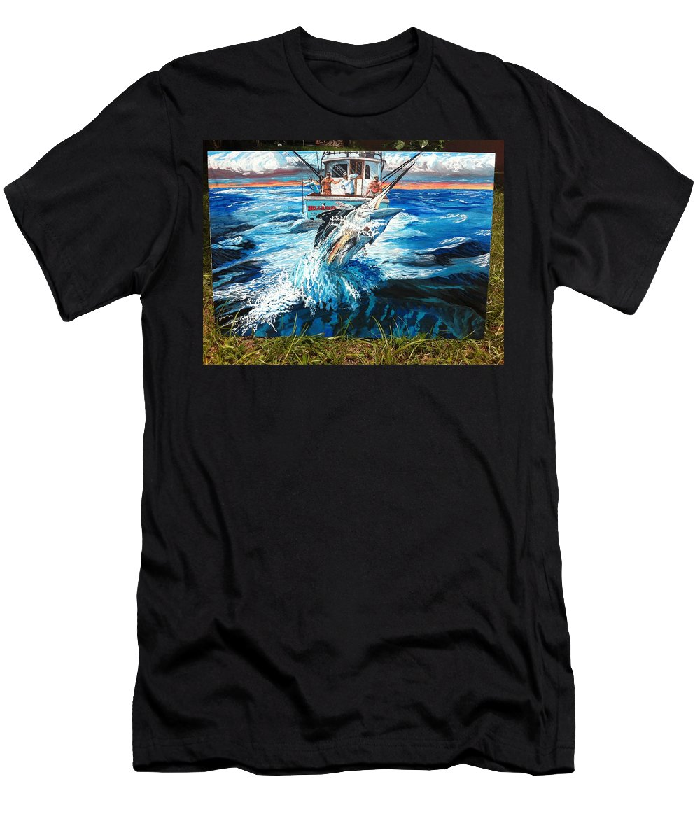 Black Marlin On Charter Boat Hellraiser Men's T-Shirt (Athletic Fit) featuring the painting Hellraiser by Minamoto Yoshida