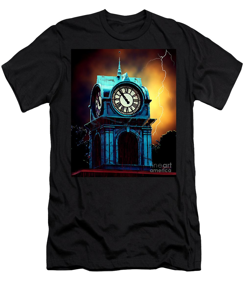 Blood Men's T-Shirt (Athletic Fit) featuring the painting Hells Timeclock by RC DeWinter