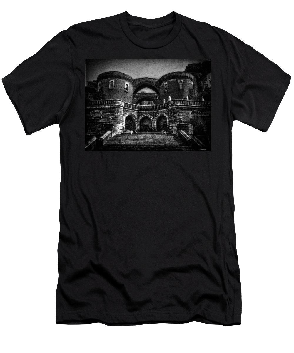Architecture Men's T-Shirt (Athletic Fit) featuring the photograph Helsingborg Black And White by Ramon Martinez
