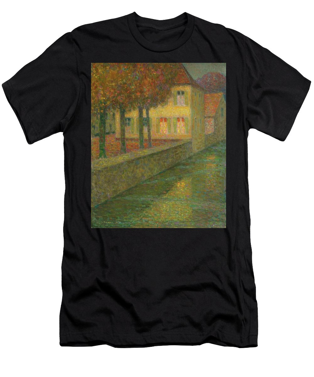 Henri Le Sidaner 1862 - 1939 Home Channel Men's T-Shirt (Athletic Fit) featuring the painting Henri Le Sidaner 1862 - 1939 Home Channel by Adam Asar