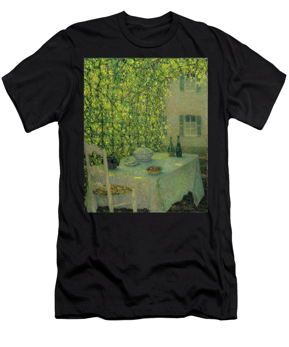 Henri Le Sidaner 1862 - 1939 The Village Table Gerberoy Men's T-Shirt (Athletic Fit) featuring the painting Henri Le Sidaner 1862 - 1939 The Village Table Gerberoy by Adam Asar