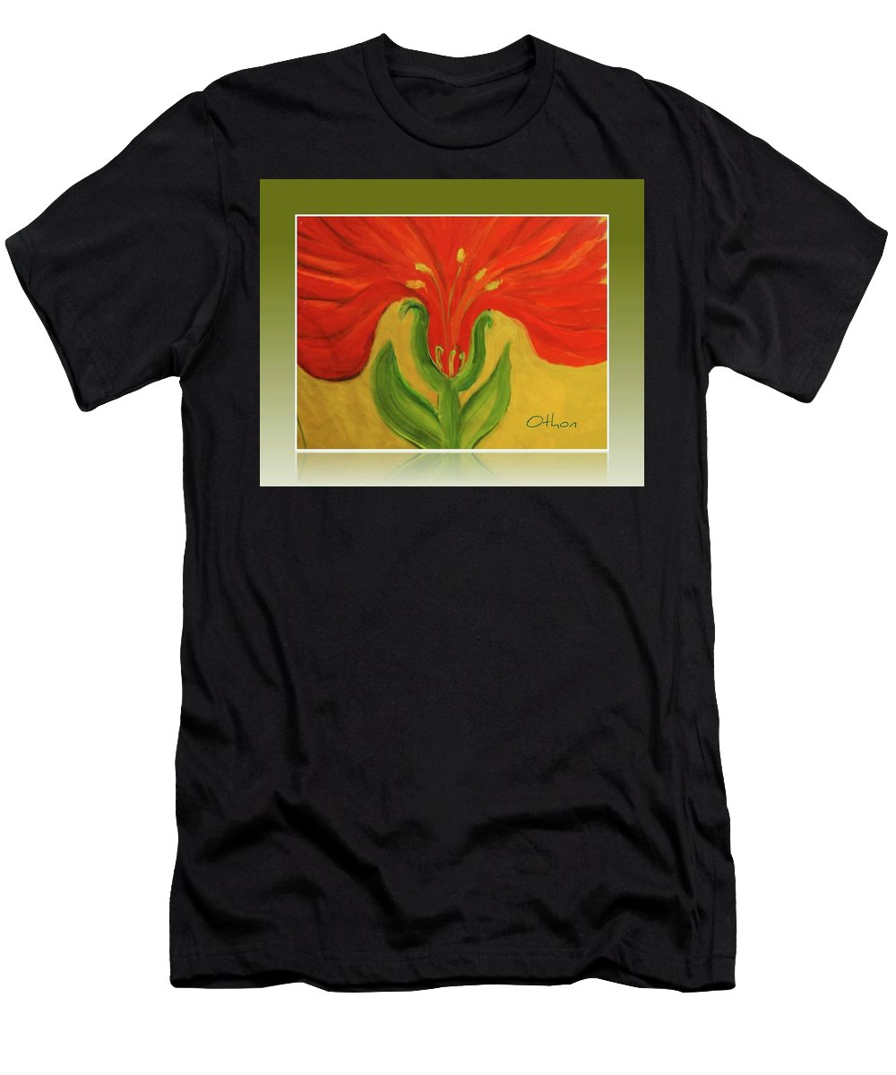 Abstract Floral Men's T-Shirt (Athletic Fit) featuring the painting Ms Henrietta by Kathy Othon