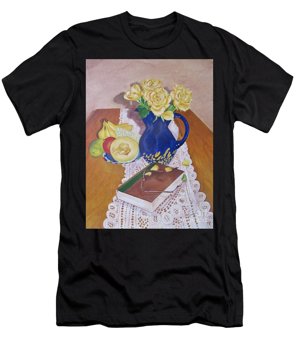 Still Life Men's T-Shirt (Athletic Fit) featuring the painting Her Book by Graciela Castro