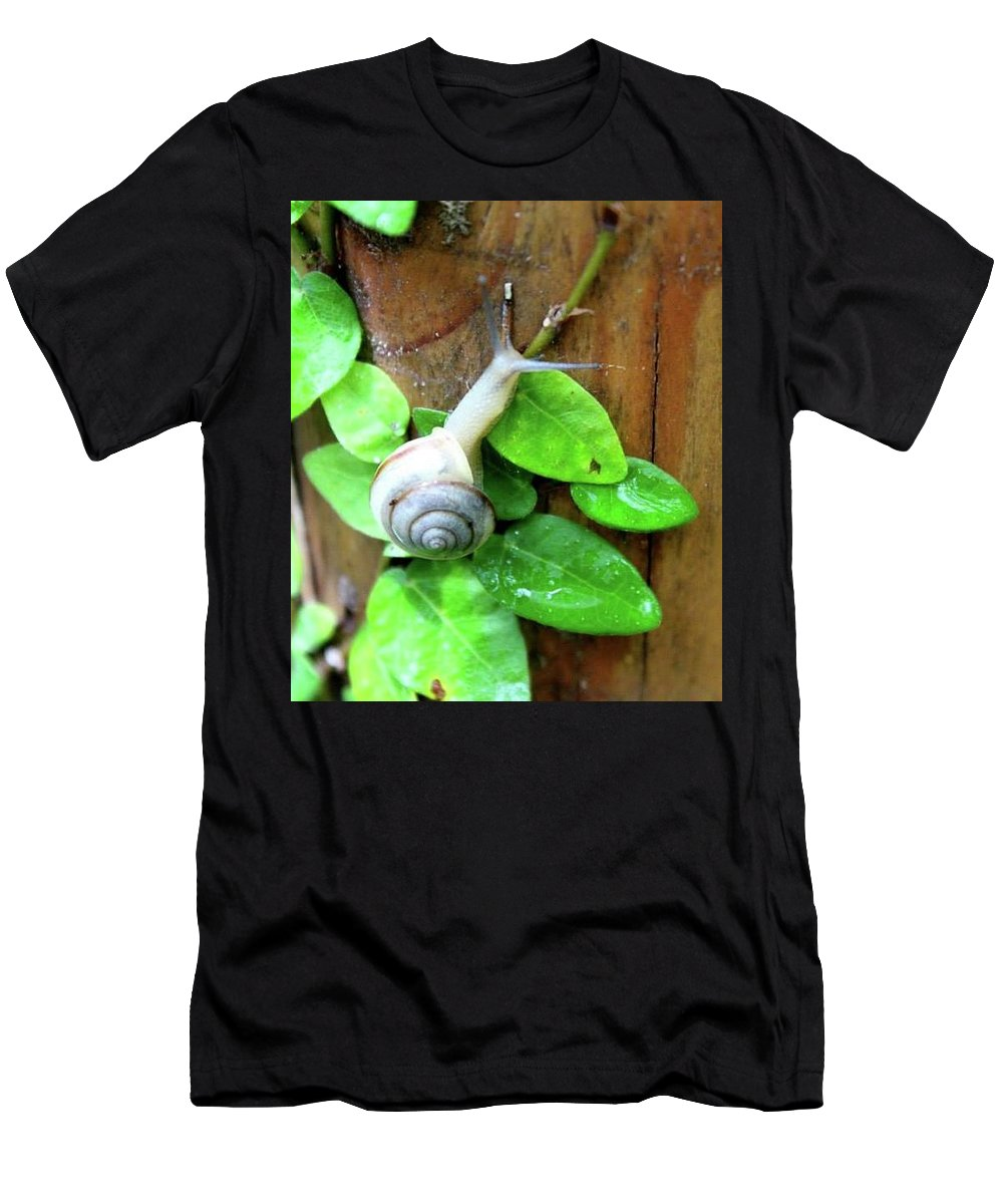 Snail Men's T-Shirt (Athletic Fit) featuring the photograph Herbert by Sparrow TwoTheKnee
