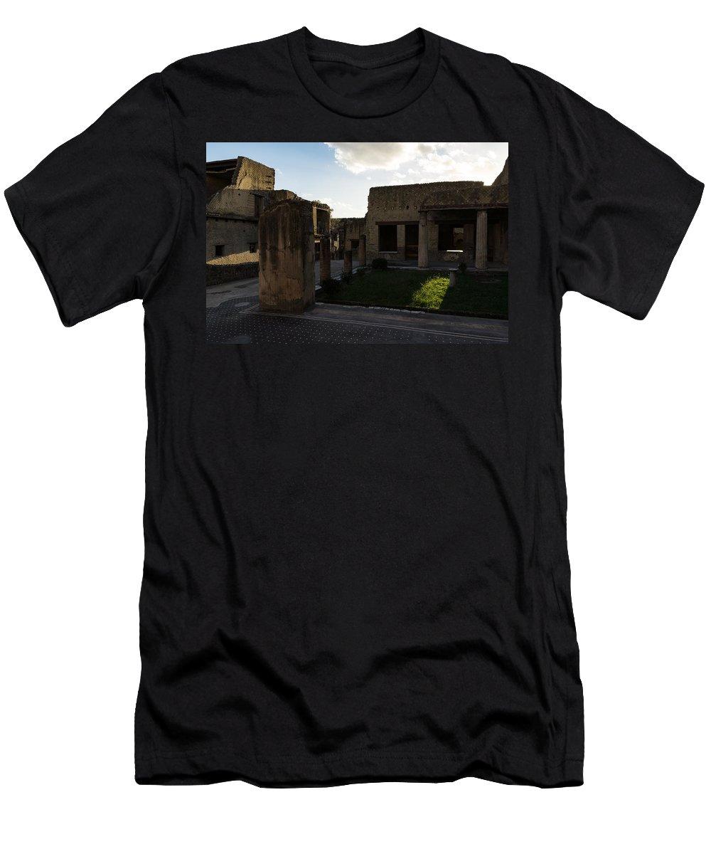 Georgia Mizuleva Men's T-Shirt (Athletic Fit) featuring the photograph Herculaneum Ruins - Mosaic Tile Streets And Sun Splashes by Georgia Mizuleva
