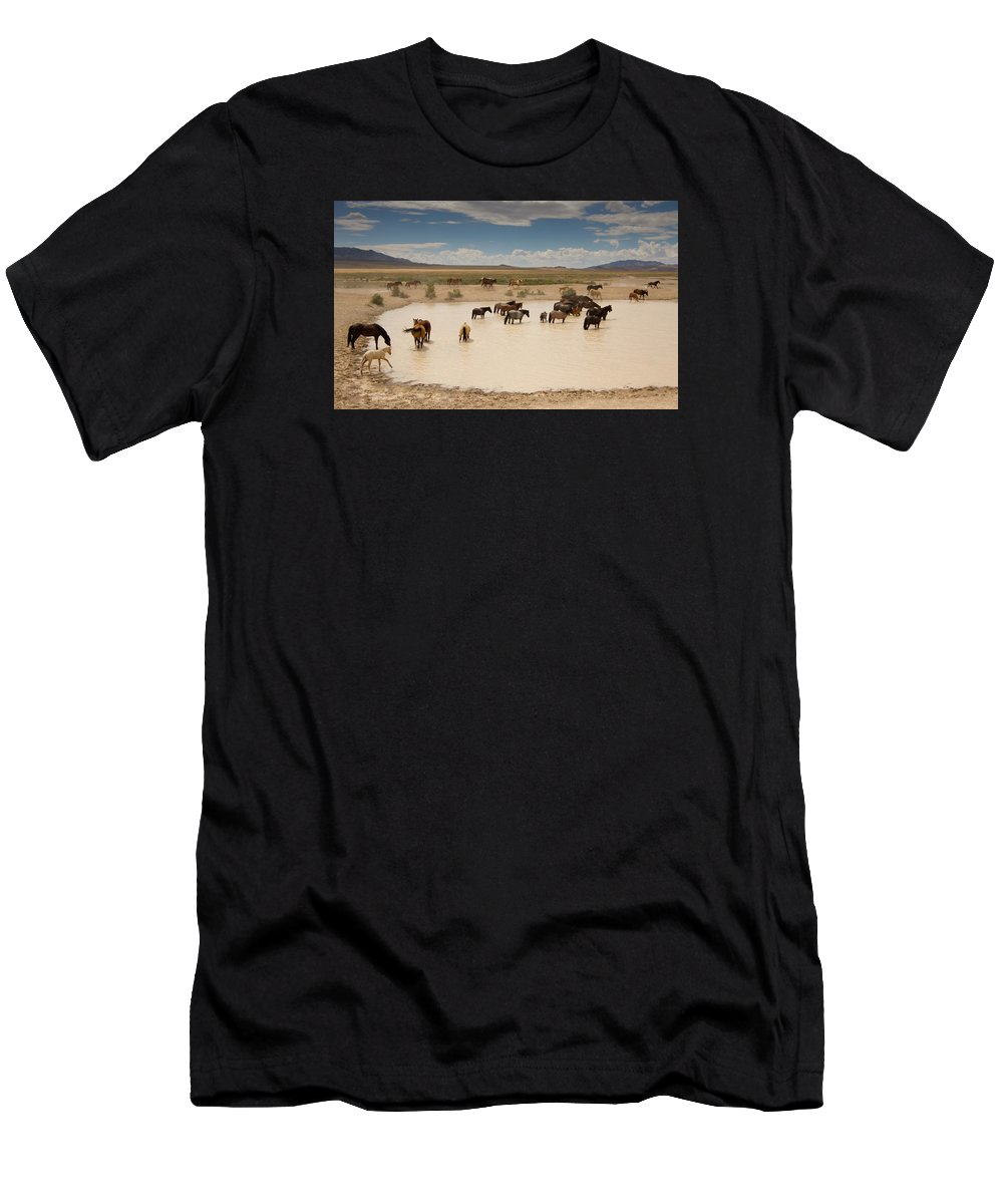 Wild Horse Men's T-Shirt (Athletic Fit) featuring the photograph Herd At A Waterhole by Kent Keller