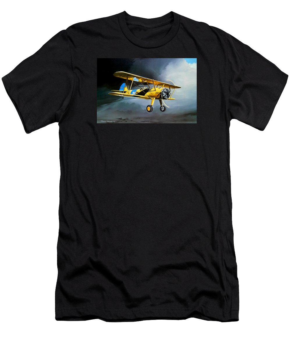 Military Men's T-Shirt (Athletic Fit) featuring the painting Here Comes The Sun by Marc Stewart