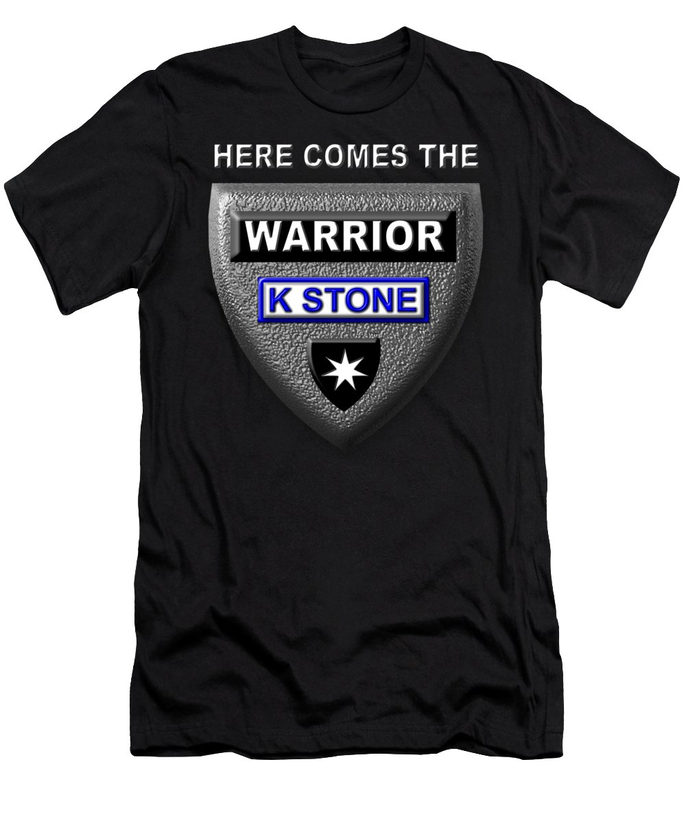 Here Comes The Warrior Men's T-Shirt (Athletic Fit) featuring the digital art Here Comes The Warrior by K STONE UK Music Producer