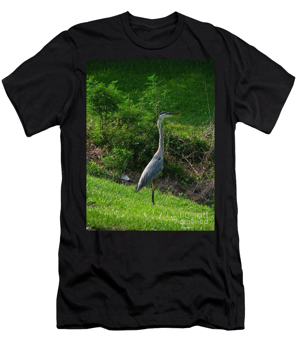 Patzer Men's T-Shirt (Athletic Fit) featuring the photograph Heron Blue by Greg Patzer