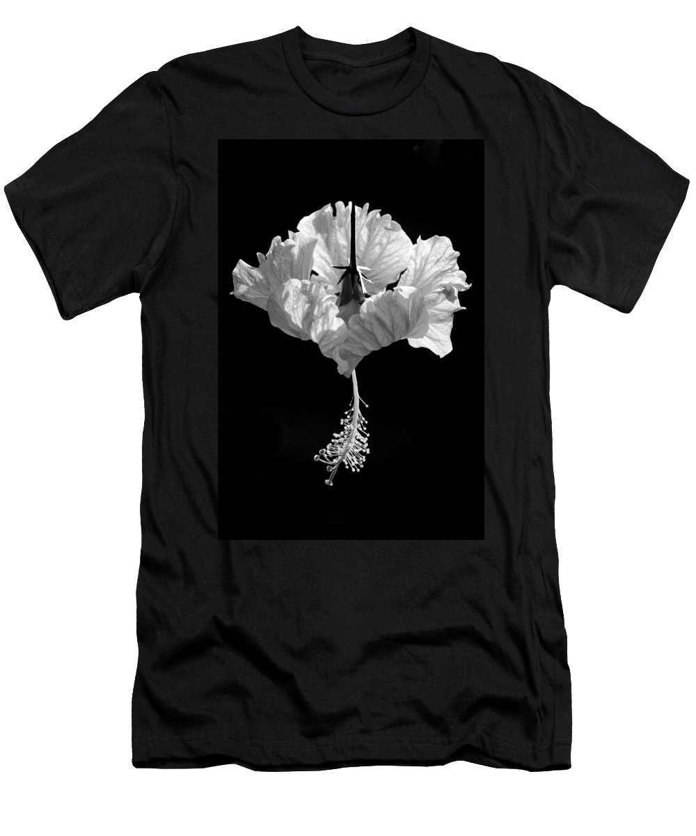 Black Men's T-Shirt (Athletic Fit) featuring the photograph Hibiscus As Art 2 by Hitendra SINKAR