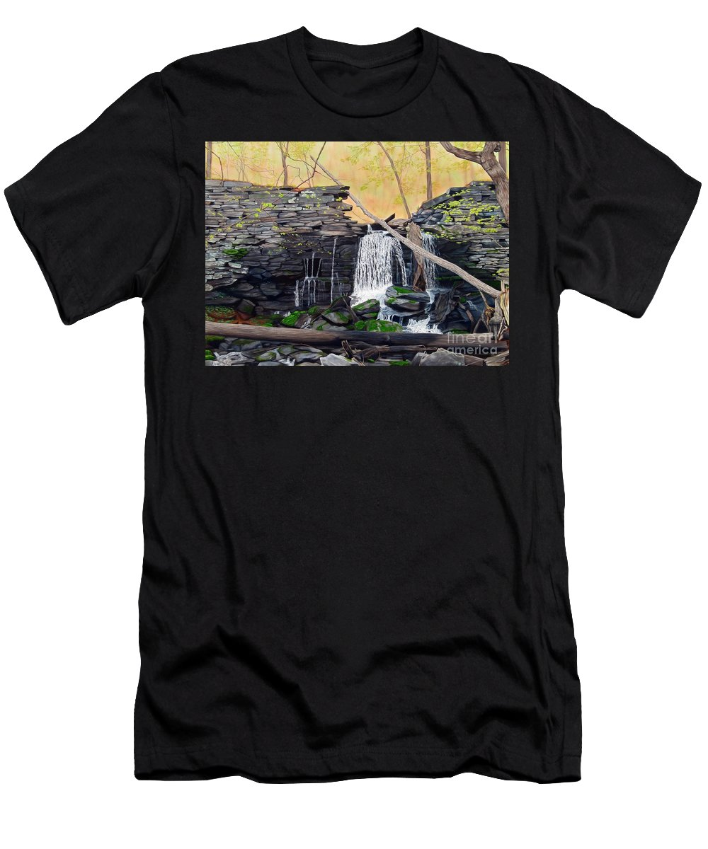 Waterfall Men's T-Shirt (Athletic Fit) featuring the painting Hidden Sanctuary by Heidi Parmelee-Pratt