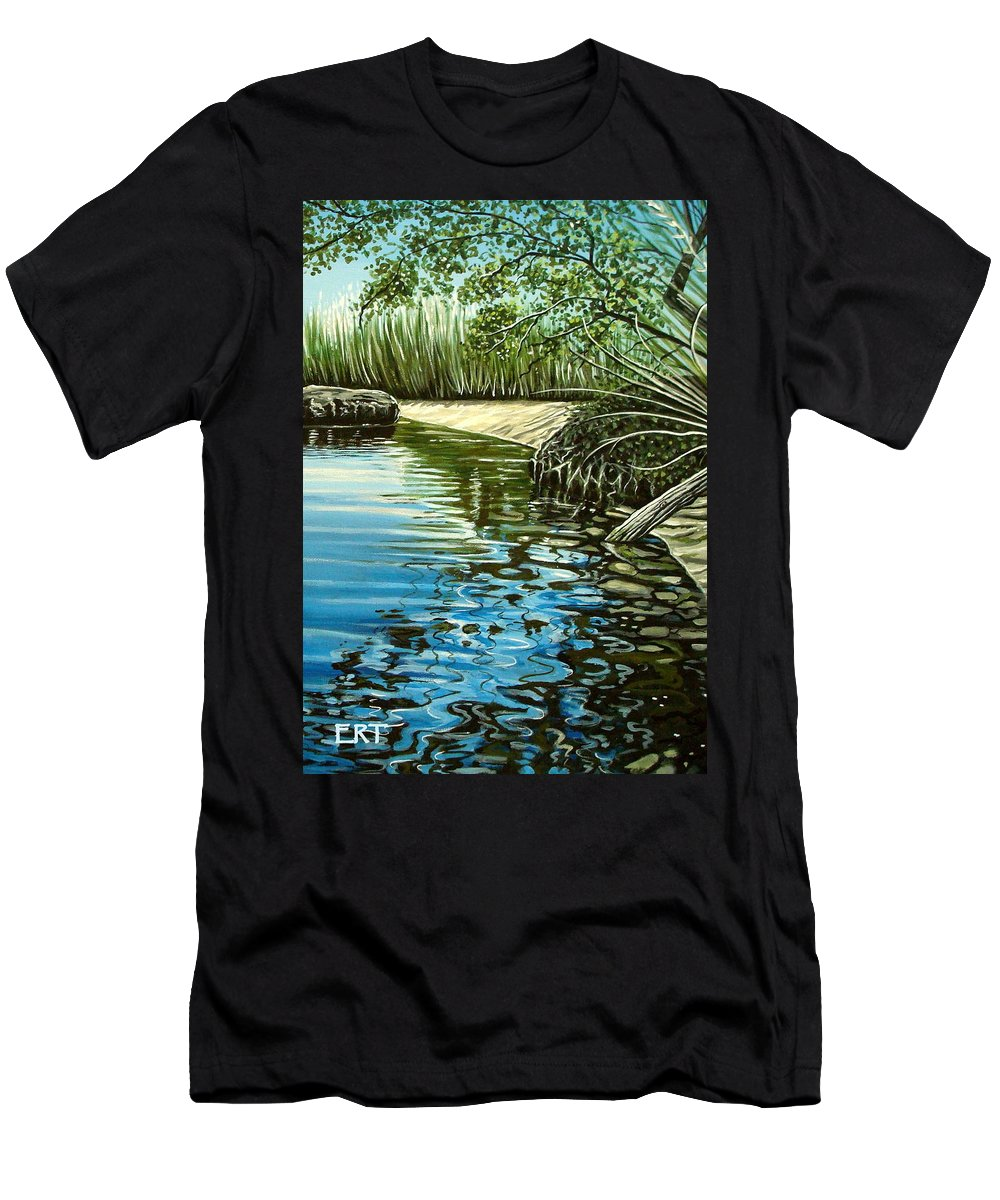 Nature Men's T-Shirt (Athletic Fit) featuring the painting Hidden Beach by Elizabeth Robinette Tyndall