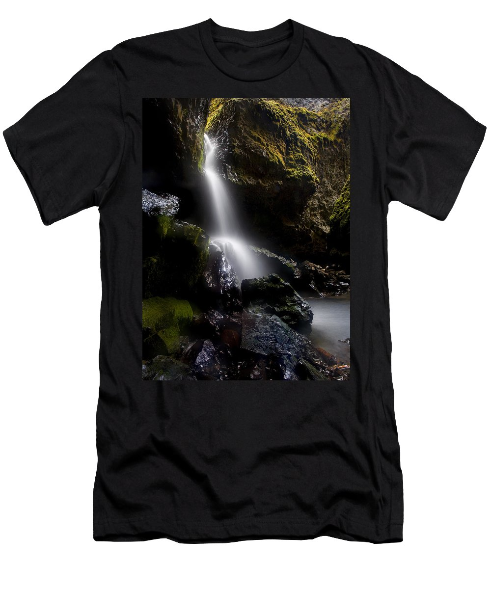 Waterfall Men's T-Shirt (Athletic Fit) featuring the photograph Hidden Falls by Mike Dawson