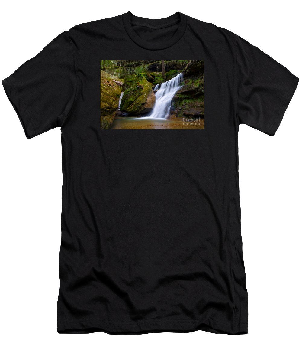 Hocking Hills Men's T-Shirt (Athletic Fit) featuring the photograph Hidden Hocking Hills Waterfall Ohio by Ina Kratzsch