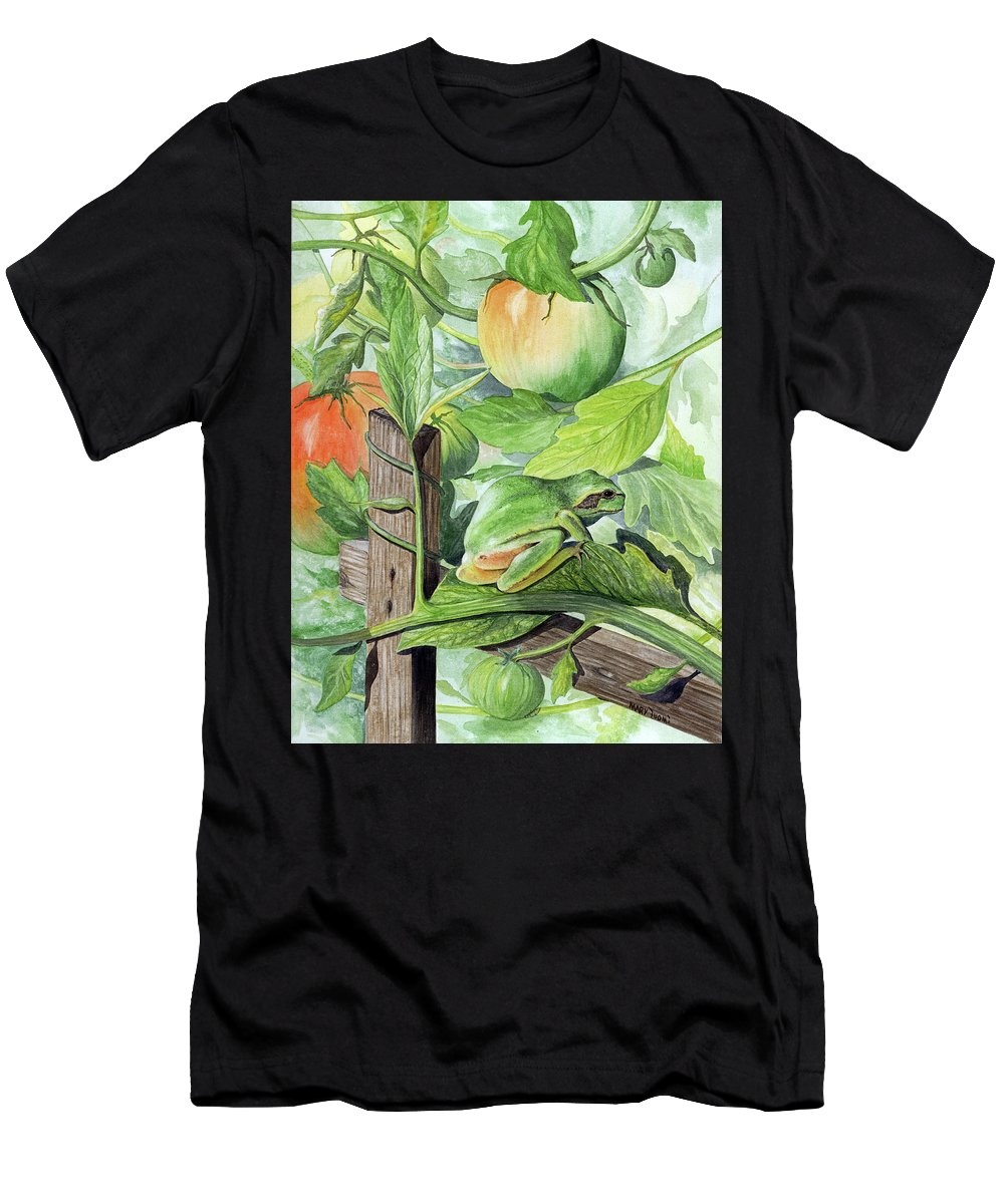 Frog Men's T-Shirt (Athletic Fit) featuring the painting Hidden II by Mary Tuomi