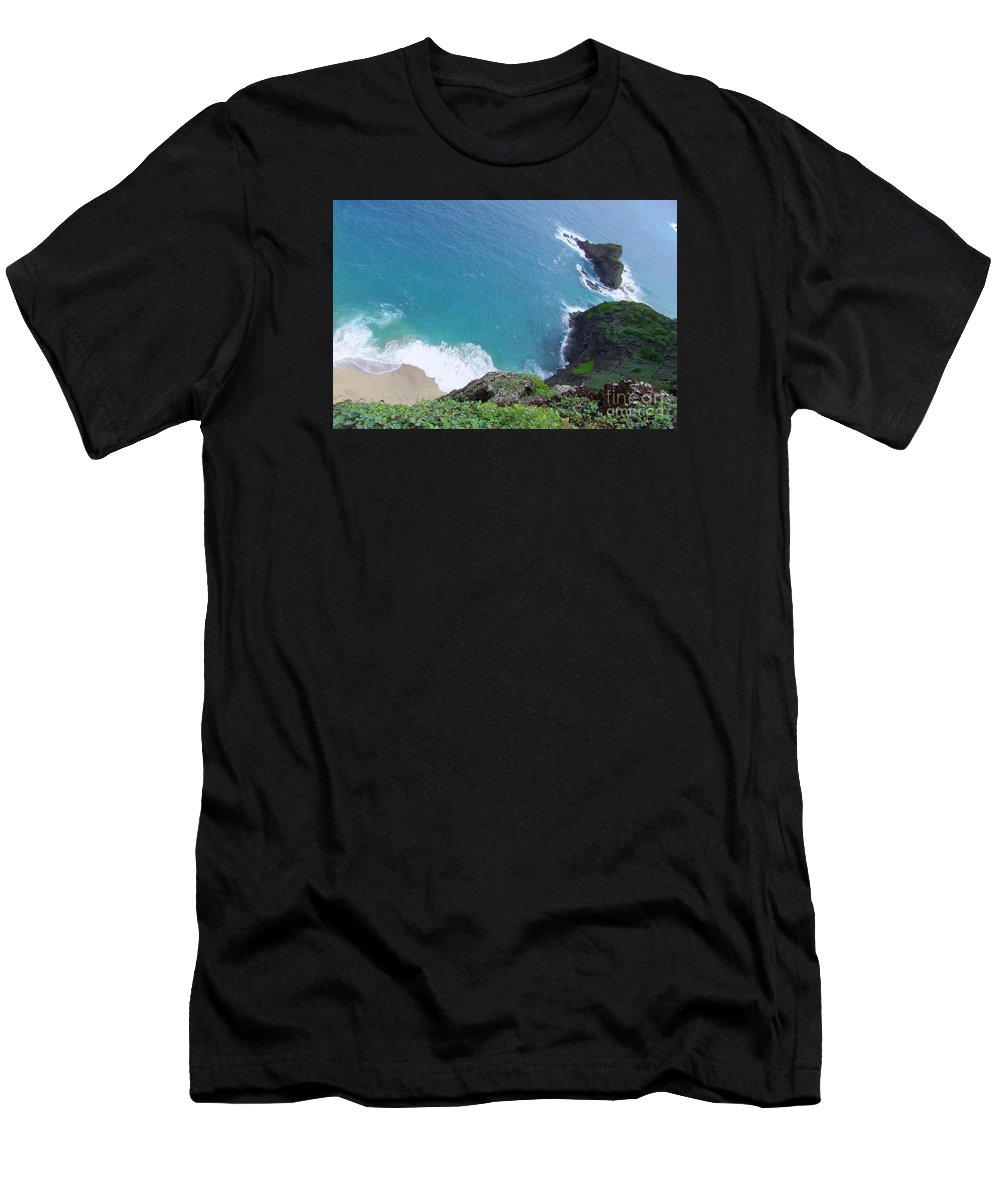 Blue Men's T-Shirt (Athletic Fit) featuring the photograph Hidden Kilauea Beach by Mary Deal