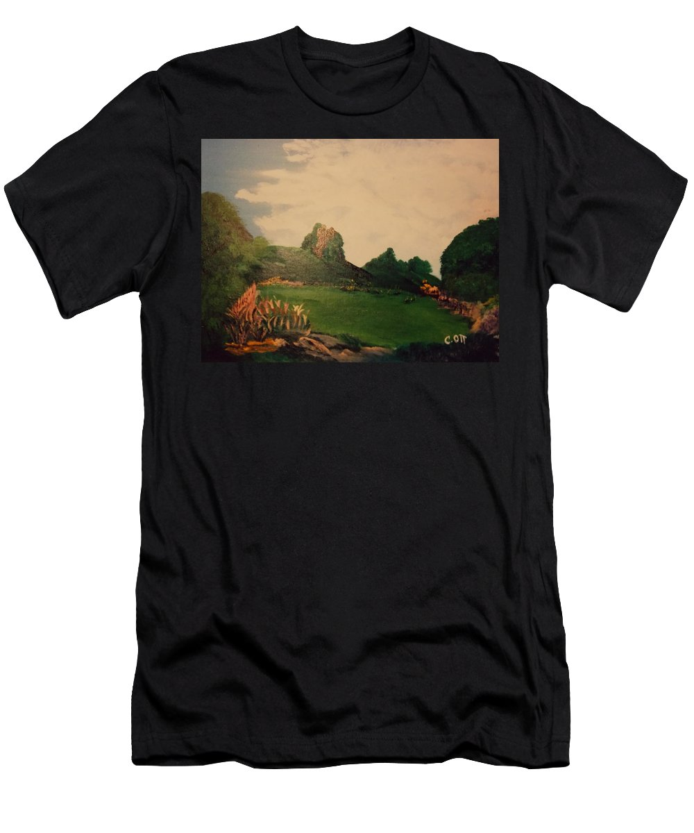 Flowers Men's T-Shirt (Athletic Fit) featuring the painting Hidden Meadow by Calvin Ott